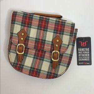 JustFab   Plaid Mini Carry Satchel Bag   Holiday